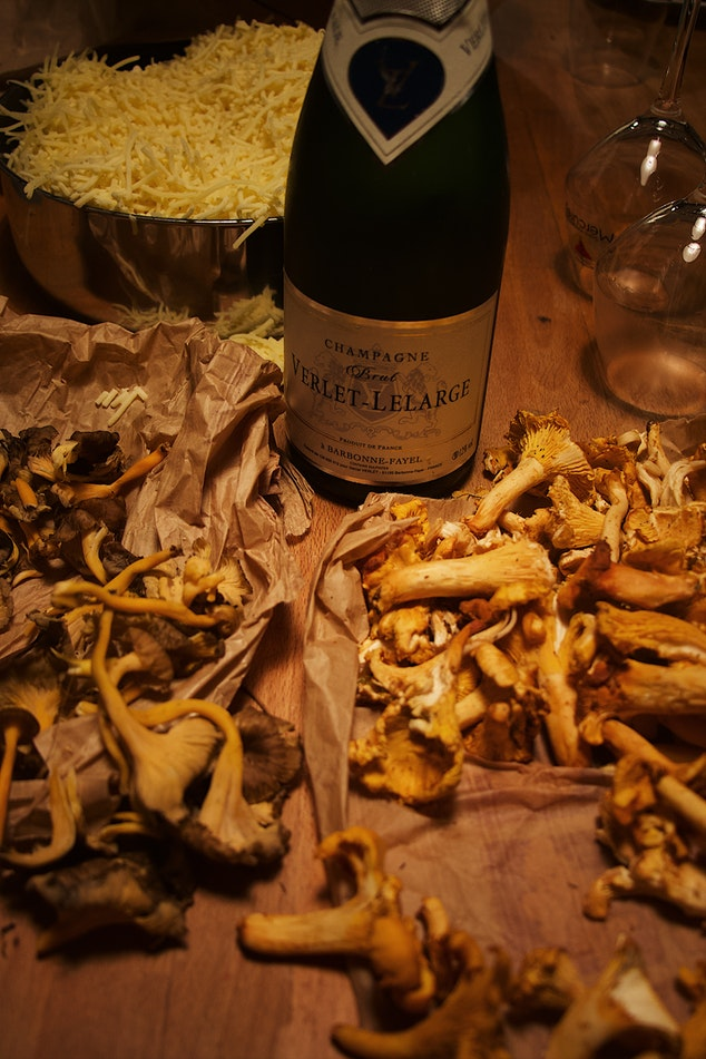 Champane and Morels by Mael Balland